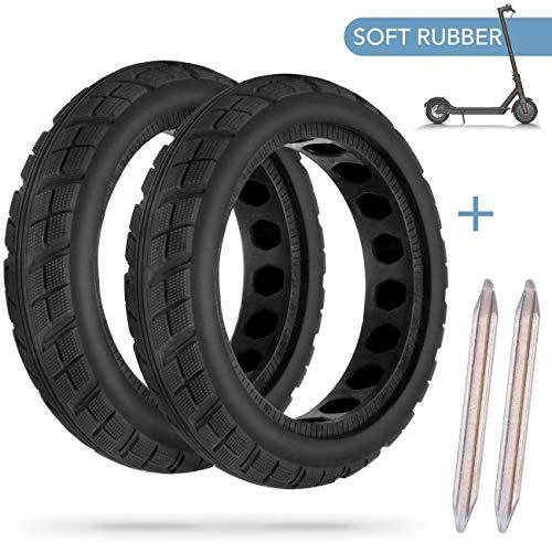 AGPTEK 2 PCS Reifen Felge, Frei Ersatz Solide Felge Ersatzreifen mit 2 Felgenheber, für Xiaomi M365 Elektro-Scooter Gummi Solid Tyre Reifen Ersatzräder