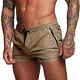 Costume da Bagno Uomo, Calzoncini da Bagno per Uomo Pantaloncini Elastico Boxer da Nuoto con Taschino e Coulisse (EU S/Tag M, Cachi)