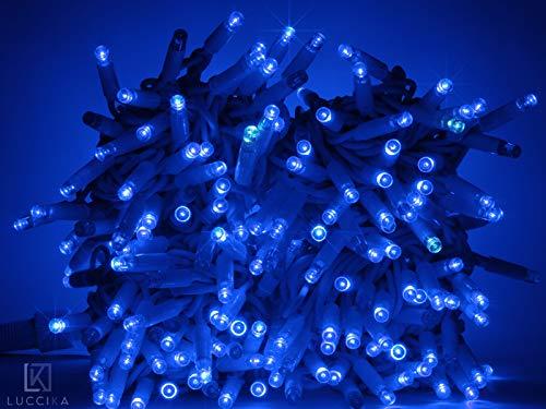 Luccika stringa catena di luci di Natale a led professionale con MaxiLed per ristoranti hotel strade e viali per uso esterno ed interno (Blu con Flash Bianco Ghiaccio, 30 Metri - 300 LED)