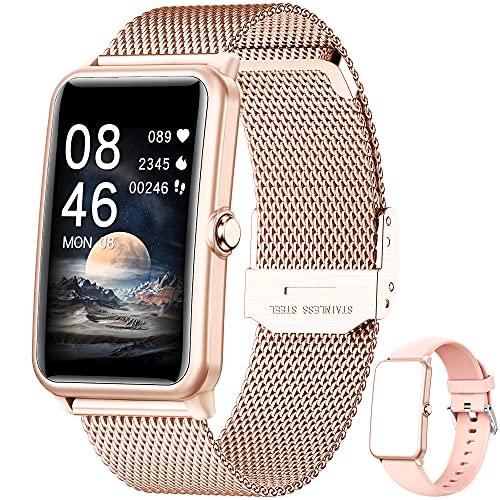 Smartwatch,1.57 Zoll Touchscreen Fitness Armbanduhr, Fitness Tracker mit Pulsuhr, IP68 Wasserdicht Sportuhr mit Schrittzähler Schlafmonitor, Smart Watch für Damen Herren für Android iOS (Gold)