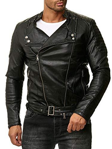 Reslad Kunstlederjacke Herren-Jacke Männer Biker-Jacke Übergangs-Jacke Leder-Jacke RS-9021 Schwarz XL