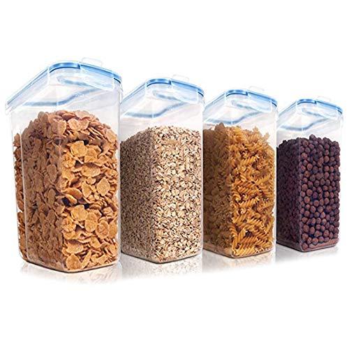 Senmubery Juego de Recipientes para Almacenamiento de Cereales, Recipientes de PláStico HerméTicos para Alimentos, Aperitivos y AzúCar, Juego de 4 Piezas Dispensadores de Cereales