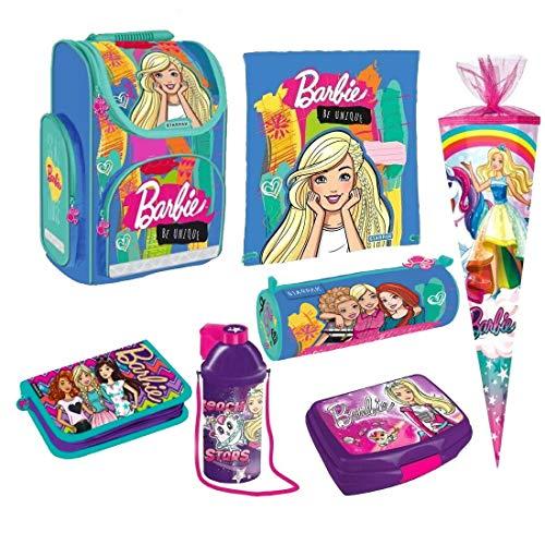 Barbie 7 Teile Schulranzen RANZEN Schulrucksack Rucksack Tasche Set Schultüte 85 cm Einhorn mit Sticker von kids4shop