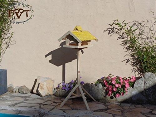 Vogelhaus,groß,mit Nistkasten,BEL-X-VONI5-gelb002 Großes wetterfestes PREMIUM Vogelhaus VOGELFUTTERHAUS + Nistkasten 100% KOMBI MIT NISTHILFE für Vögel WETTERFEST, QUALITÄTS-SCHREINERARBEIT-aus 100% Vollholz, Holz Futterhaus für Vögel, MIT FUTTERSCHACHT Futtervorrat, Vogelfutter-Station Farbe gelb kräftig sonnengelb goldgelb, MIT TIEFEM WETTERSCHUTZ-DACH für trockenes Futter - 3