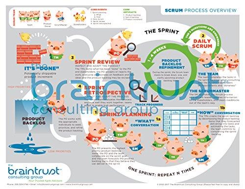 Learn Scrum Visually! - Laminated Scrum Process Diagram - Great Certified ScrumMaster (CSM) Study Guide!