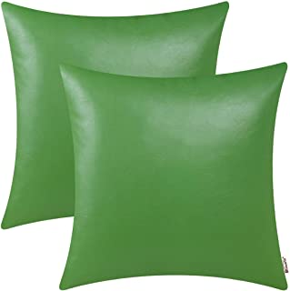 BRAWARM Pack of 2 Cozy Throw Pillow Covers Cases for Couch Sofa Home Decoration Solid Dyed Soft Faux Leather Both Sides 24 X 24 Inches Forest Green