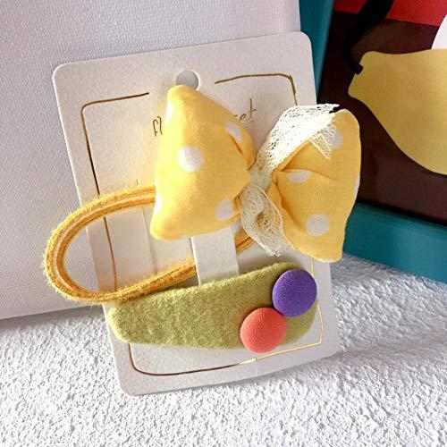 Vide 2 pièces ensemble Élégant Bandeau cheveux corde Dentelle couleur nœud Elasticité Fille enfant Accessoires Cheveux -jaune
