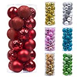 Valery Madelyn 24pcs Boules de Noël Ornements 2,4 Pouces / 6cm, décoration de Boules de Noël en Plastique Rouge incassable, Cadeaux de pendentifs de Sapin de Noël (Joyeux & Lumineux)