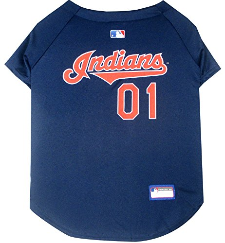 Pets First MLB Cleveland Indians Dog Jersey, Medium. - Pro Team Color Baseball Outfit
