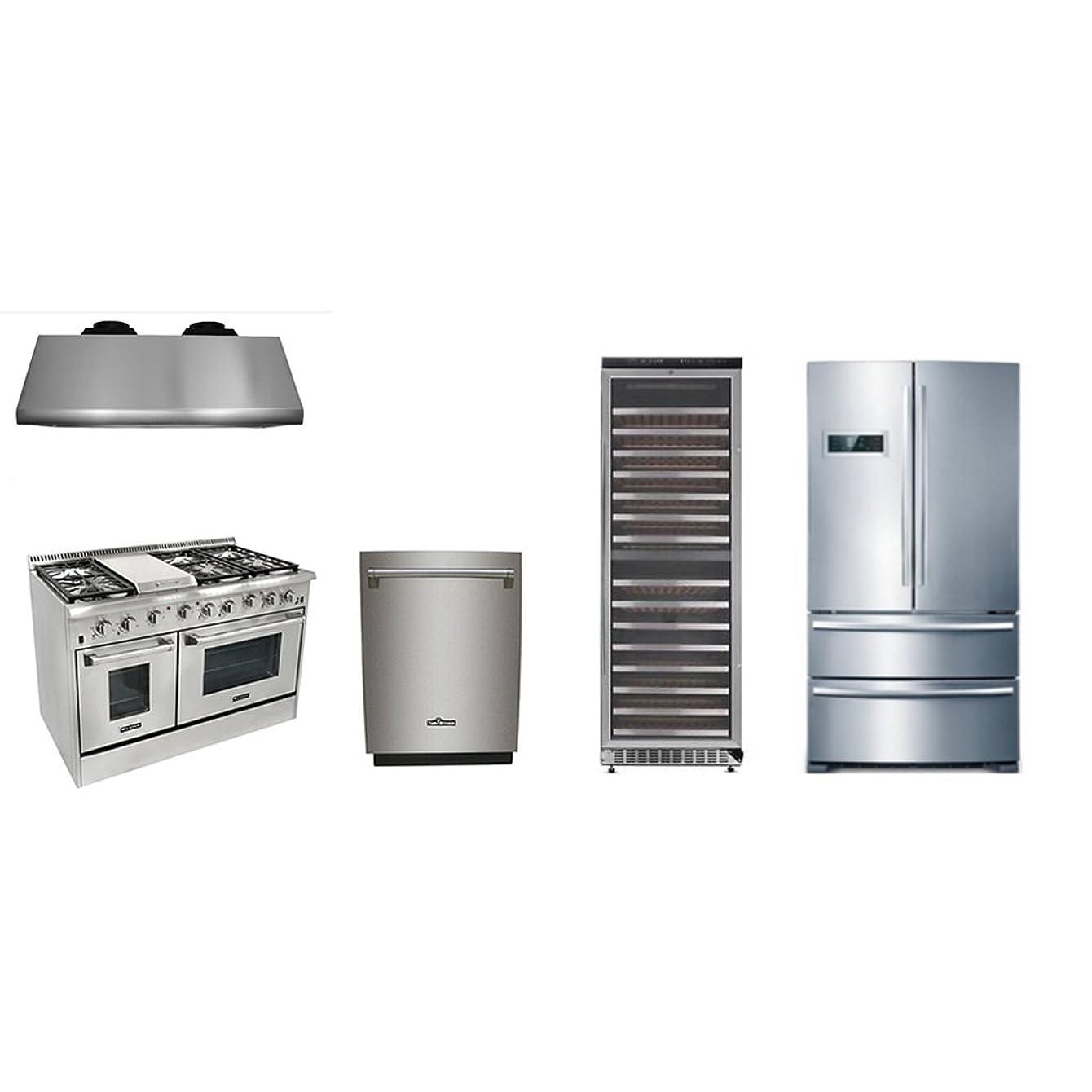 Thor Kitchen 48'' 6 Burner Dual Fuel Range with Double Oven+1200 CFM Range Hood+70''H Refriger+24'' Built-in Dishwasher+156 Bottle Wine cooler