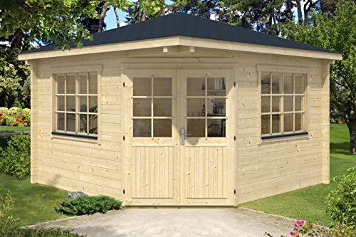 Alpholz 5-Eck Gartenhaus Fabio-70 aus Massiv-Holz | Gerätehaus mit 70 mm Wandstärke | Garten Holzhaus inklusive Montagematerial | Geräteschuppen Größe: 380 x 380 cm | Spitzdach