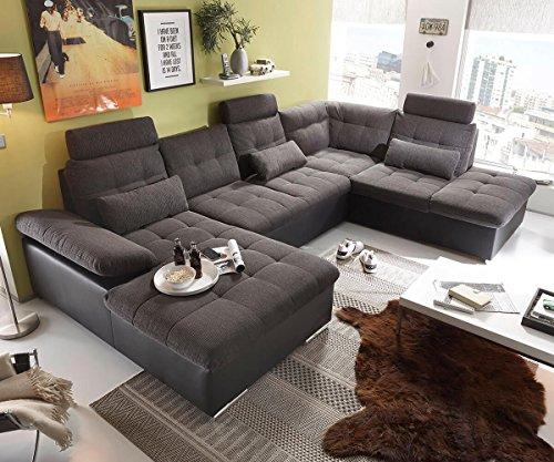 DELIFE Couch Jerrica Grau Schwarz 325x220 cm Bettkasten Schlaffunktion Wohnlandschaft