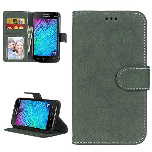 Samsung i9060 Galaxy Grand Neo Hülle Leder Tasche, Samsung Galaxy Grand Neo Plus Handyhülle Klassisch Brieftasche Stoßfest Schutzhülle Elegant Handytasche Flip Case Cover, Grün