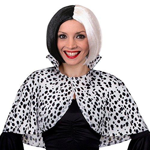 Déguisement de la femme cruelle avec les dalmatiens avec cette cape couvre épaule + une perruque noire et blanche...