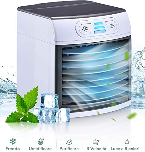 Homitt Mini Raffreddatore D'aria, Personale Condizionatori Evaporativoa 3 Velocità 8 LED Colori, 500ML Serbatoio D'acqua, Cavo USB, Air Cooler per Casa, Ufficio e Auto