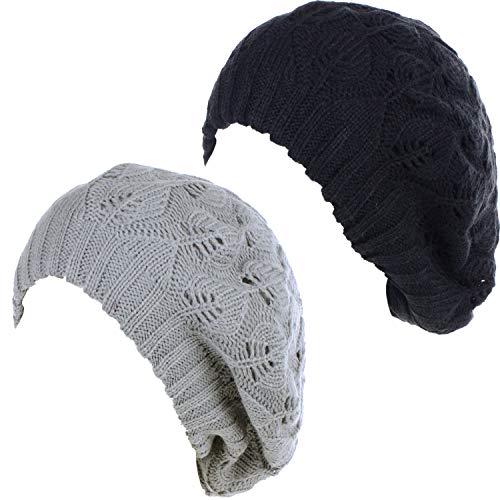 BYOS Damen Baskenmütze, mittelschwer, lässig, mit Blättern, Cutout, gehäkelt, weich, gestrickt - Grau - Einheitsgröße