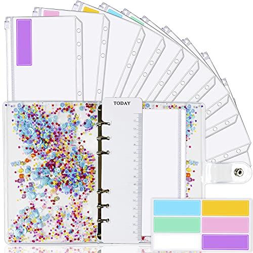 A6 Binder Cover and 12 Clear Envelopes, Budget Binder with Cash Envelopes for Budgeting, Binder Pockets Cash Envelope Wallet, Budget Planner Organizer, Cash Envelope Binder with Budget Envelopes Shell