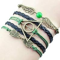mitetuboueki アンティーク 青銅 ハリー・ポッター 死の秘宝の翼 手織り ブレスレット アングル ジュエリー k99 (グリーン)