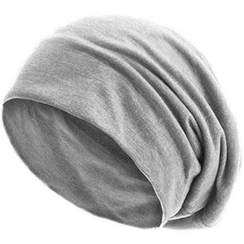 style3 Slouch Beanie aus atmungsaktivem, feinem und leichten Jersey Unisex Mütze Haube Bini Einheitsgröße, Farbe:Hellgrau