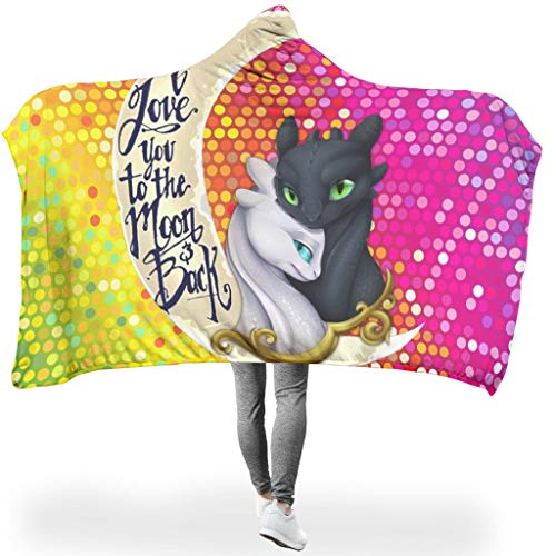 Stormruier Dragon Moon Cuddly Colorless Hoodie Wearable Super Soft Throw Blanket Not lint for Offices in Cold Weather Sunshine style white 60x80 inch