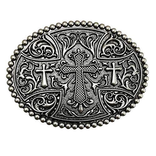 LAXPICOL Native American Big Heavy Duty Vintage Celtic Pattern Cross Oval Belt Buckle For Men Grey Tone