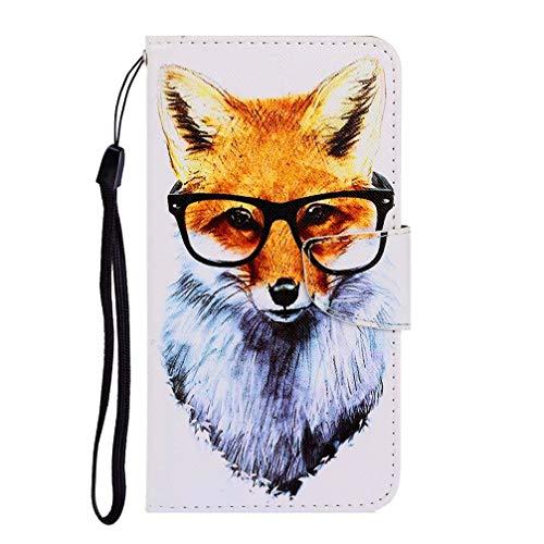 JJWYD Kompatibel für Samsung Galaxy A70 hülle Leder, Handyhülle mit Kartenfach Geld Slot Ständer PU Ledertasche TPU Bumper Flip Schutzhülle für Samsung Galaxy A70 - Fuchs