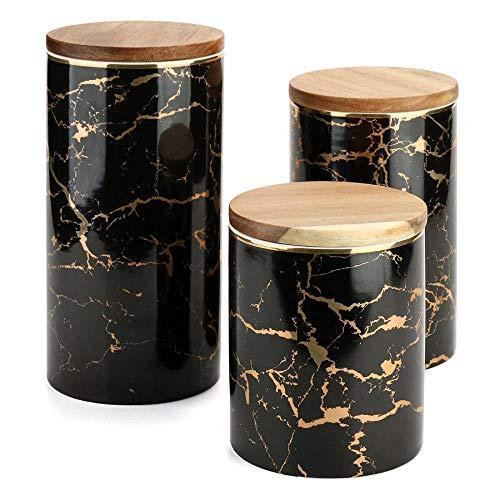 Keramik-Kaffeedose, luftdicht, Marmor-Muster mit versiegeltem Bambusdeckel, Küchen-Vorratsdose zum Servieren von Zucker, Kaffee, Gewürzen (3 Stück/Packung)