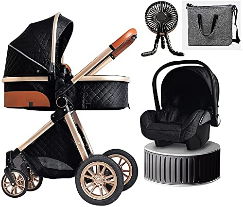 YZPTD 3 in 1 Baby Stroller Travel Systems Bassinet Stroller for Foldable Baby Stroller with Easy Fold Stroller Footmuff Blanket Cooling Pad Rain Cover Backpack Mosquito Net Fan (Color : Black)