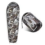 Lumaland Outdoor Saco de Dormir, ca. 230 x 80 cm, Bolsa de Transporte incluida, ca. 50 x 25 cm Gris Mimetico