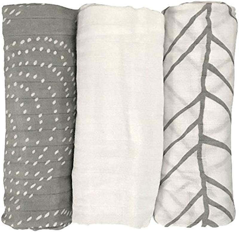 LIFESTYLE BAMBOO Bamboo Swaddle Blankets 100 Bamboo Muslin Blanket 3 Pk Ultra Soft Lightweight Breathable White Grey Unisex Neutral Colors Baby Boy Baby Girl 47 X 47 In