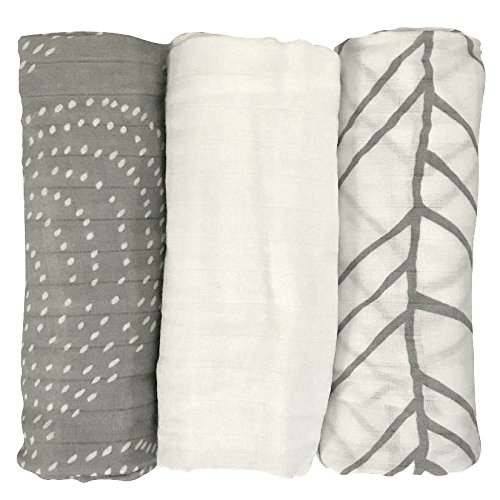 LIFESTYLE BAMBOO Bamboo Swaddle Blankets - Bamboo Muslin Blanket - 3 pk - White & Grey - Unisex - Neutral Colors - Baby Boy - Baby Girl - Baby Shower Gift
