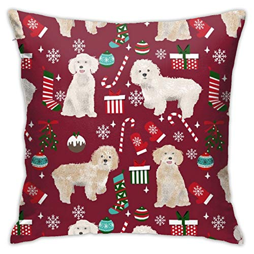 87569dwdsdwd Cockapoo Christmas Holiday Presents Candy Canes Winter Snowflakes Dog Ruby Square Pillow Case Home Sofa Decorative 18' X 18'Inch Ultra Soft Comfortable