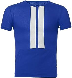 Tシャツ メンズ Boybya 筋トレ スポーツシャツ ストライプ プリント 吸汗速乾 通気性 快適 タイト 運動風 ゆったり ボディビル インナー マッスルフィット オシャレ 人気 カジュアル トレーニングウェア スポーツウェア フィットネス ストリート