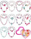 30 Piezas Set de Collar Pulsera Joyería de Princesa de Niña, 10 Sets Pulsera Collar de Cuentas de Niñas y 10 Anillos con Caja Plástico en Forma Corazón para Fiesta de Disfraces Cosplay