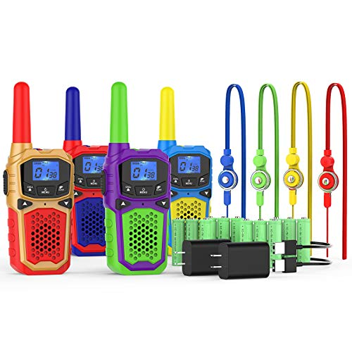 Rechargeable Walkie Talkies for Kids Adults 4 Packs Long Range Walky Talky with Batteries 2 Charger 2 Way Radios 22 Channels Handheld Ideal for Outdoor Adventure Game Camping Hiking