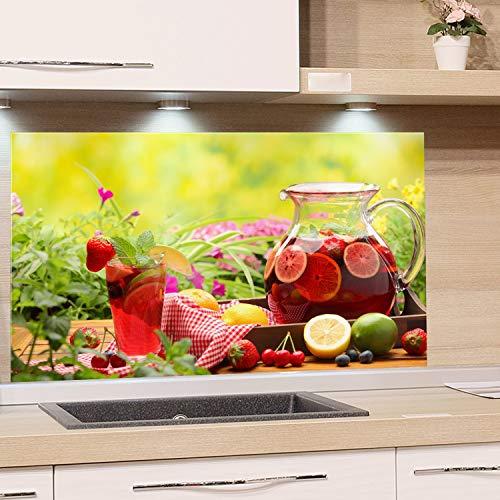 GRAZDesign Spritzschutz Glas für Küche Herd, Bild-Motiv Garten Getränke Natur Beere Obst, Küchenrückwand Küchenspiegel Glasrückwand / 80x50cm