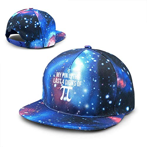 Rogerds Baseball Kappe für Herren/Damen,Sternenhimmel Mütze,Hüte My PIN is The Last 4 Digits of Pi Funny Nerd Math Starry Sky Flat Along Baseball Cap Hip Hop Hat Women's Teens Hats