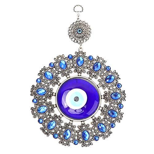 Weikeya Exquisite türkisches Glas Amulett, Bürogeschenk 21 * 17,5 cm Glas Ornament Augenschutz Charm Metall