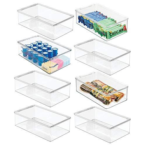 mDesign Koelkast opbergdoos — Koelkast en vriezer container met scharnierend deksel — Afdekplaat voor snacks, Pasta, Produce