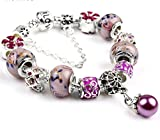 My Sunshine : Bracelet fantaisie Fleur , corolles et entrelacs zircons et perle de verre style chic et moderne (20cm)
