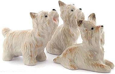 ChangThai Design Dollhouse Miniatures Ceramic Yorkshire Dog Set Figurine Animals Decor
