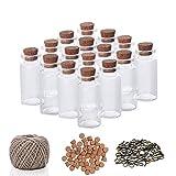 Mini Botellas de Vidrio (60 Piezas) 10ml Viales Miniatura 5cm x 2cm - Set frascos con Tapón de Corcho, 30m de Cordel y Tornillos de Ojo - Decoración de Bodas, hacer Bisutería, Manualidades, Bricolaje