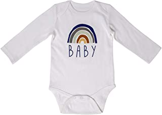 Unisex Baby Boys Girls Long-Sleeve Onesie Bodysuit | Organic Cotton Rainbow Baby Outfits