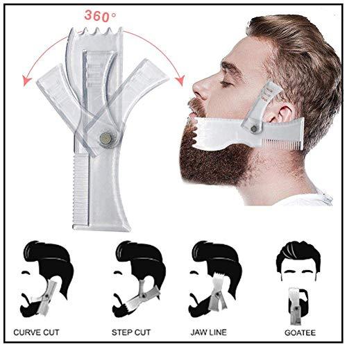 Bart Form Kamm Beard Styling und Shaping Comb, Trimmen Vorlage für perfekte Linien und Symmetrie, Bart Trimmen für Männer schnell Erstellen Sie gut aussehen,Clear