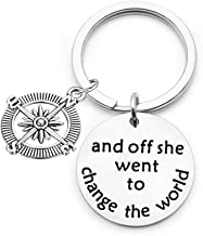 bobauna and Off She Went to Change The World Inspirational Quote Keychain Motivational Gift for Her