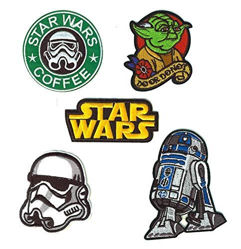SET PRODUCTS Lot de 5 Patch Thermocollants Star Wars - Iron Patches Starwars à appliquer au Fer à Repasser ou à Coudre pour la Customisation de Vos Vêtements ou Sacs - Autres modèles Disponibles