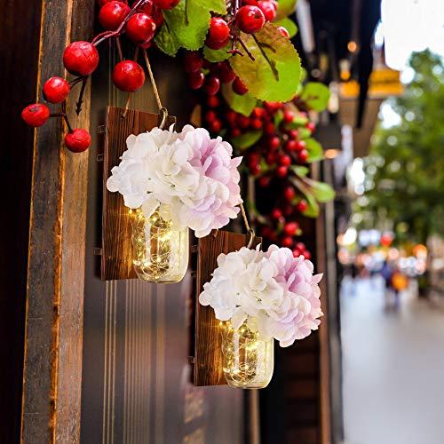 Emotionlite inmaakglazen wandlampen, rustieke houten wandverlichting, LED-stripverlichting, smeedijzeren haken, zijdenhortensie, voor hoofddecoratie