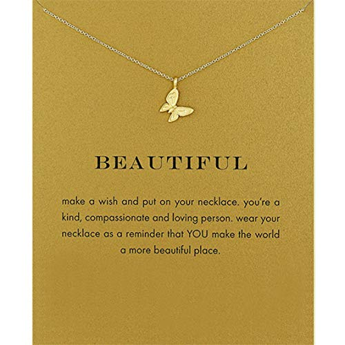 Idiytip Women Necklaces Sterling Silver Pendant Gold Plated 3D Butterfly Necklace Jewellery for Ladies Girls,Single Butterfly Gold + Card