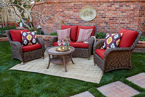 Quality Outdoor Living 65-517109A Stonecrest All-Weather 4 Piece Deep Seating Set, Brown Wicker + Red Cushions