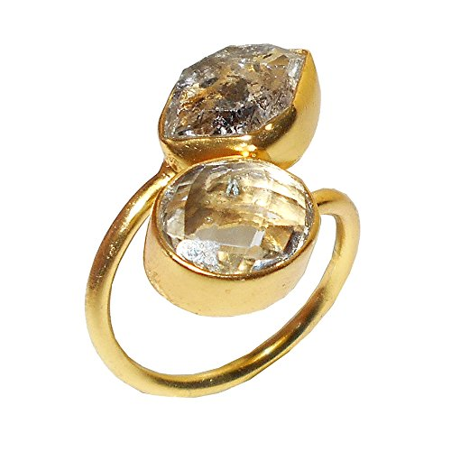 Bhagat Jewels Made in 22k Gold Vermeil Raw Herkimer Diamond and Crystal Quartz Gemstone Bypass Ring